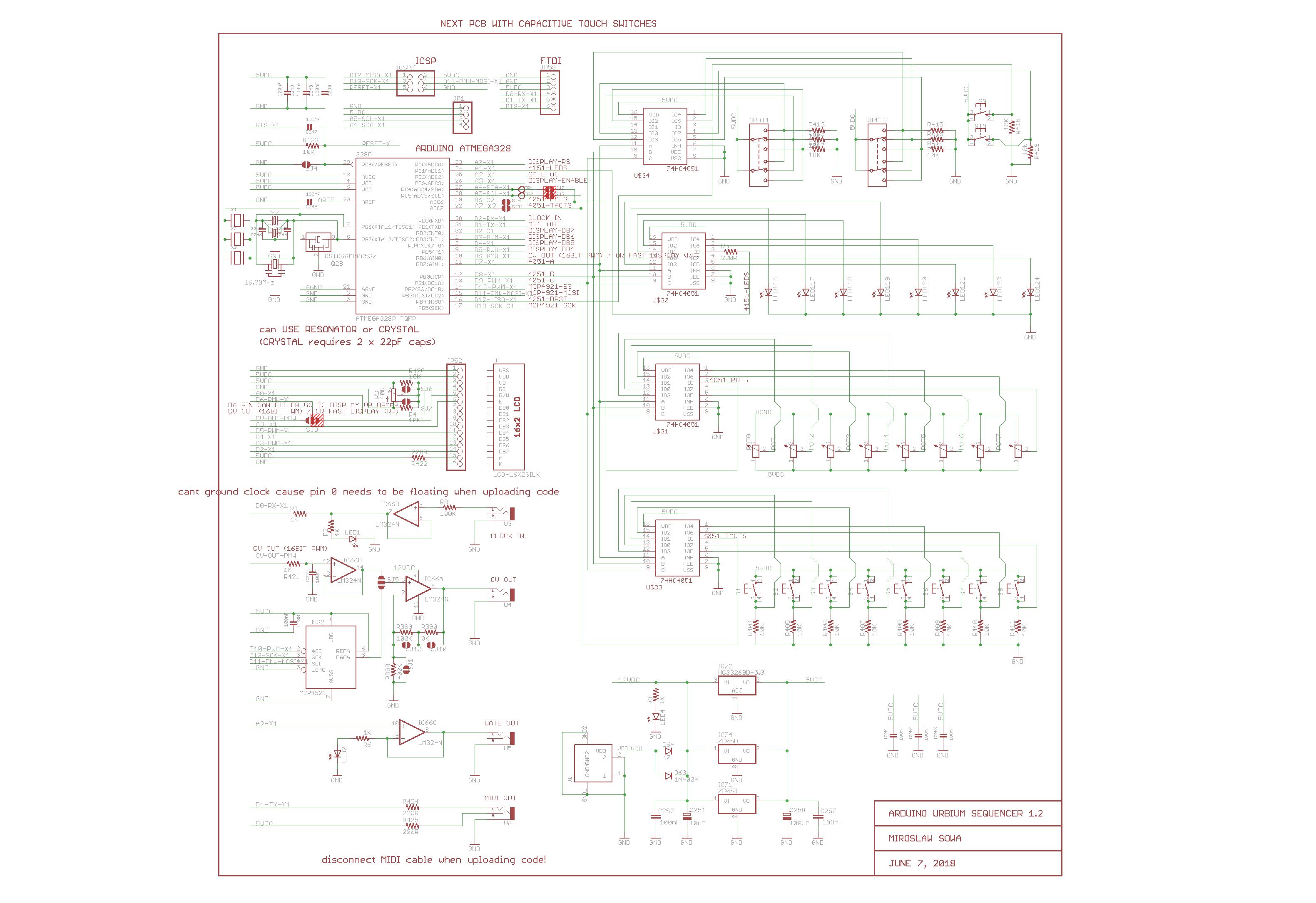 Arduino Urbium Sequencer MIDI CV GATE 8 STEPS | Hackaday io