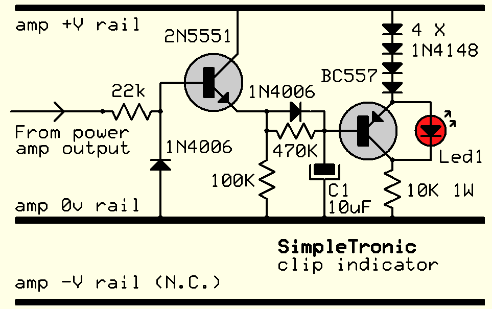 clip indicator for any power amp hackaday iocircuit for higher power amps ( v above 40v )