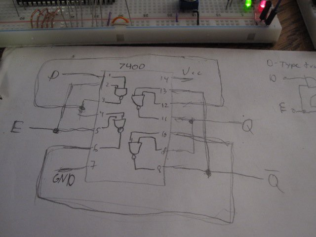 a diagram of a 7400 quad 2-input nand gate ic on paper and traced out  the connections i should make on it in order to create a d-type transparent  latch