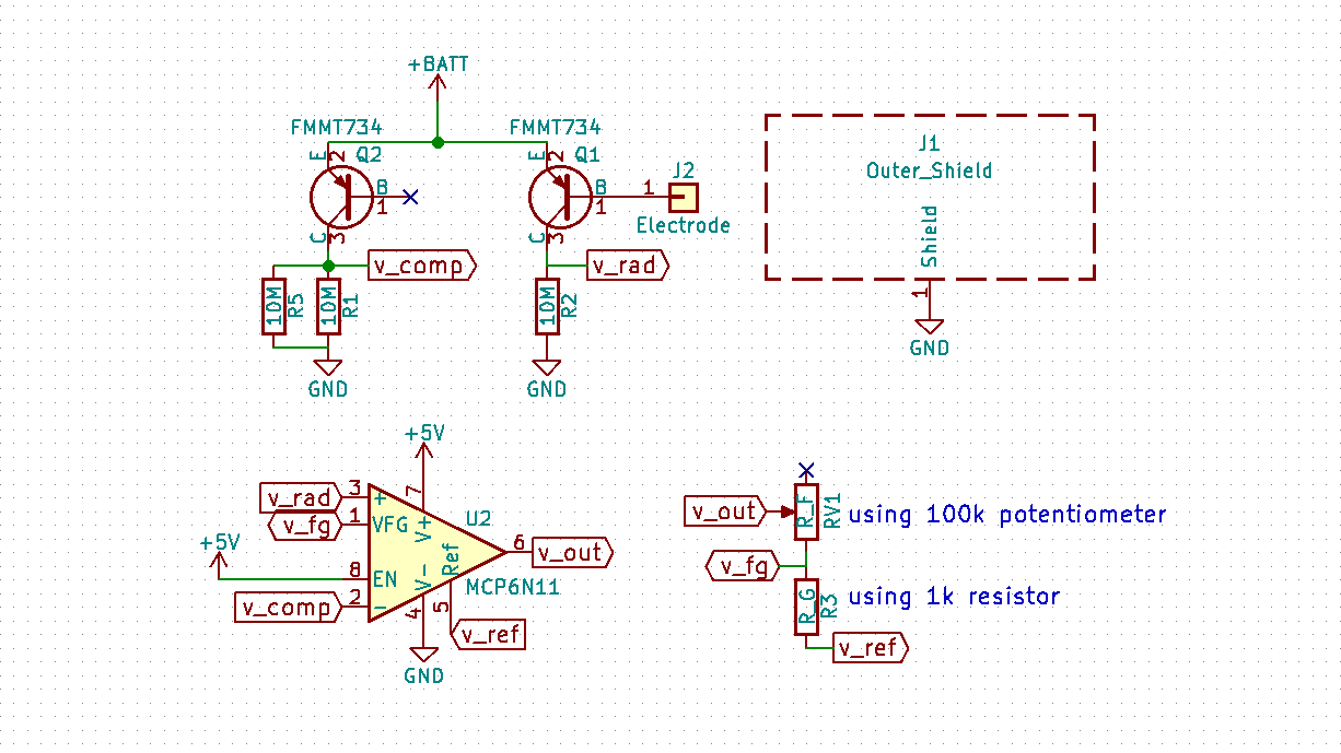 Open Radiation Detector The Darlington Pair Circuit Schematic Diagram Amplification Is Achieved With A Of Transistors One To Amplify Signal And Other Compensate Effect Temperature