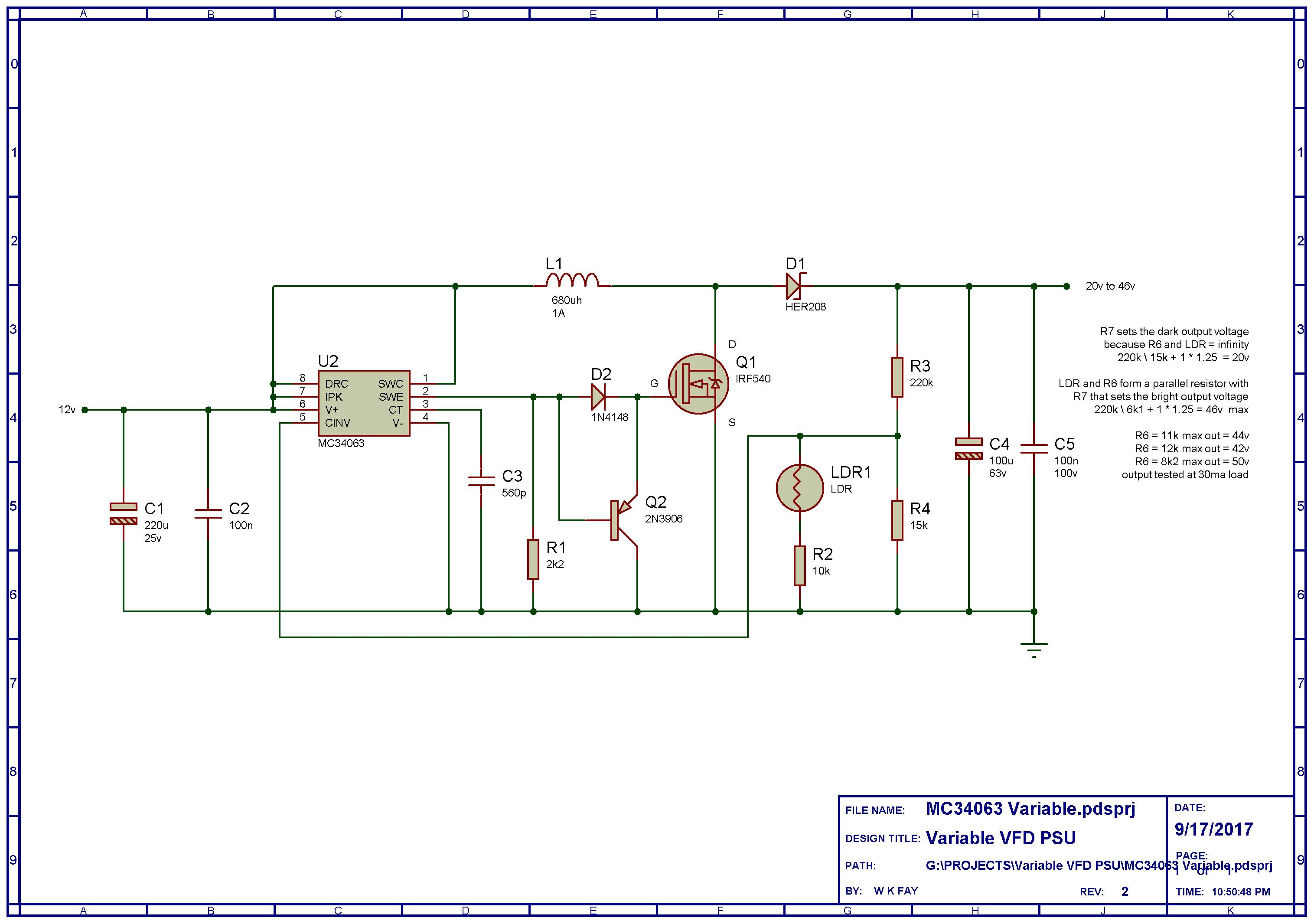 Vfd Power Supply With Automatic Dimming Details If You Know The Schematic Diagram For A Transistor Which Is From Can See That We Have An Mc34063 External Outputs Below 40v Be Omitted