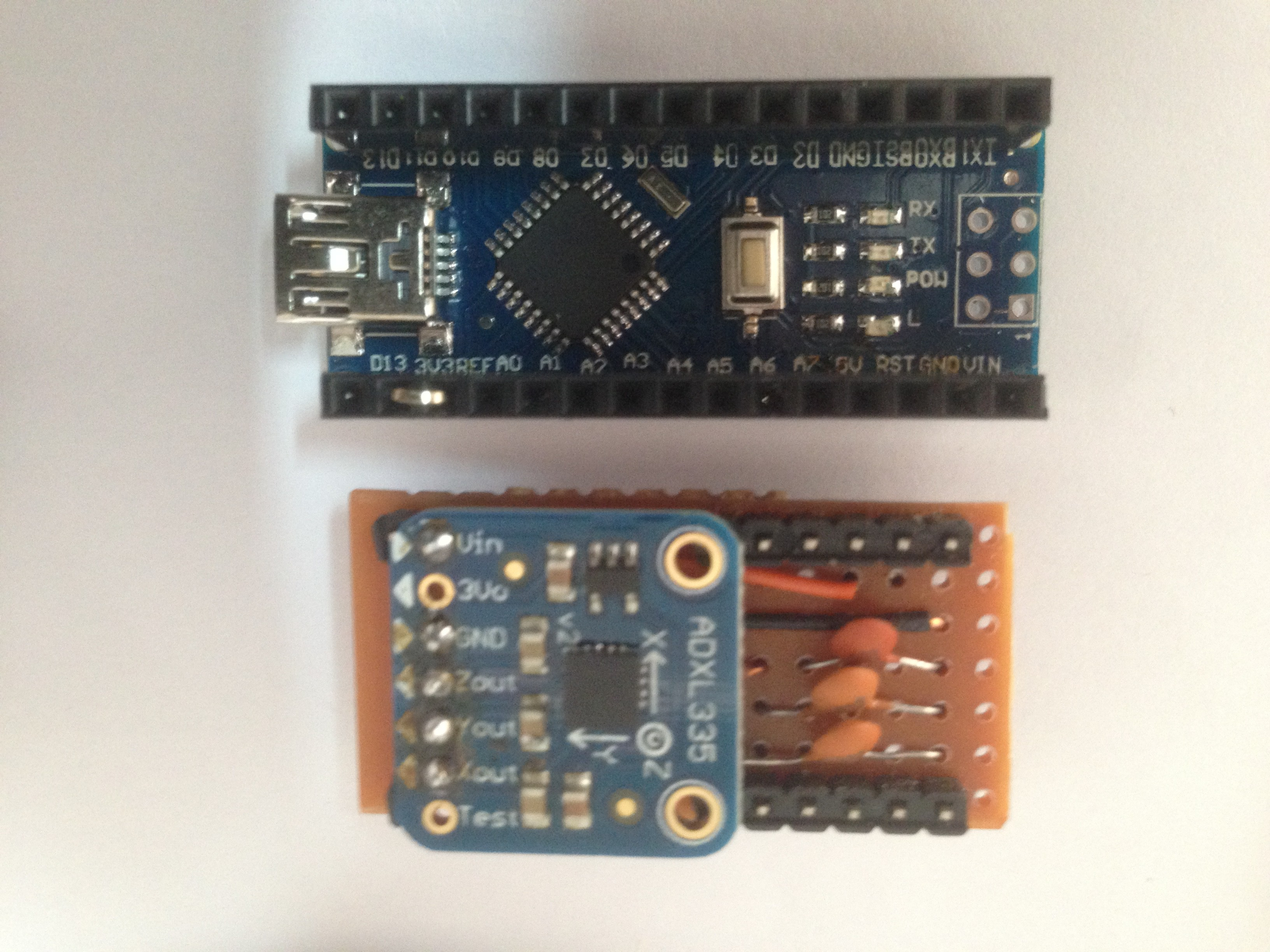 Open Source Fft Spectrum Analyzer Audio Make Diy Projects Howtos Electronics Adxl335 Header Pins Are Placed At The Sides Of Board And Arranged So This Fit Inside Single Line Sockets Soldered On Arduino Nano