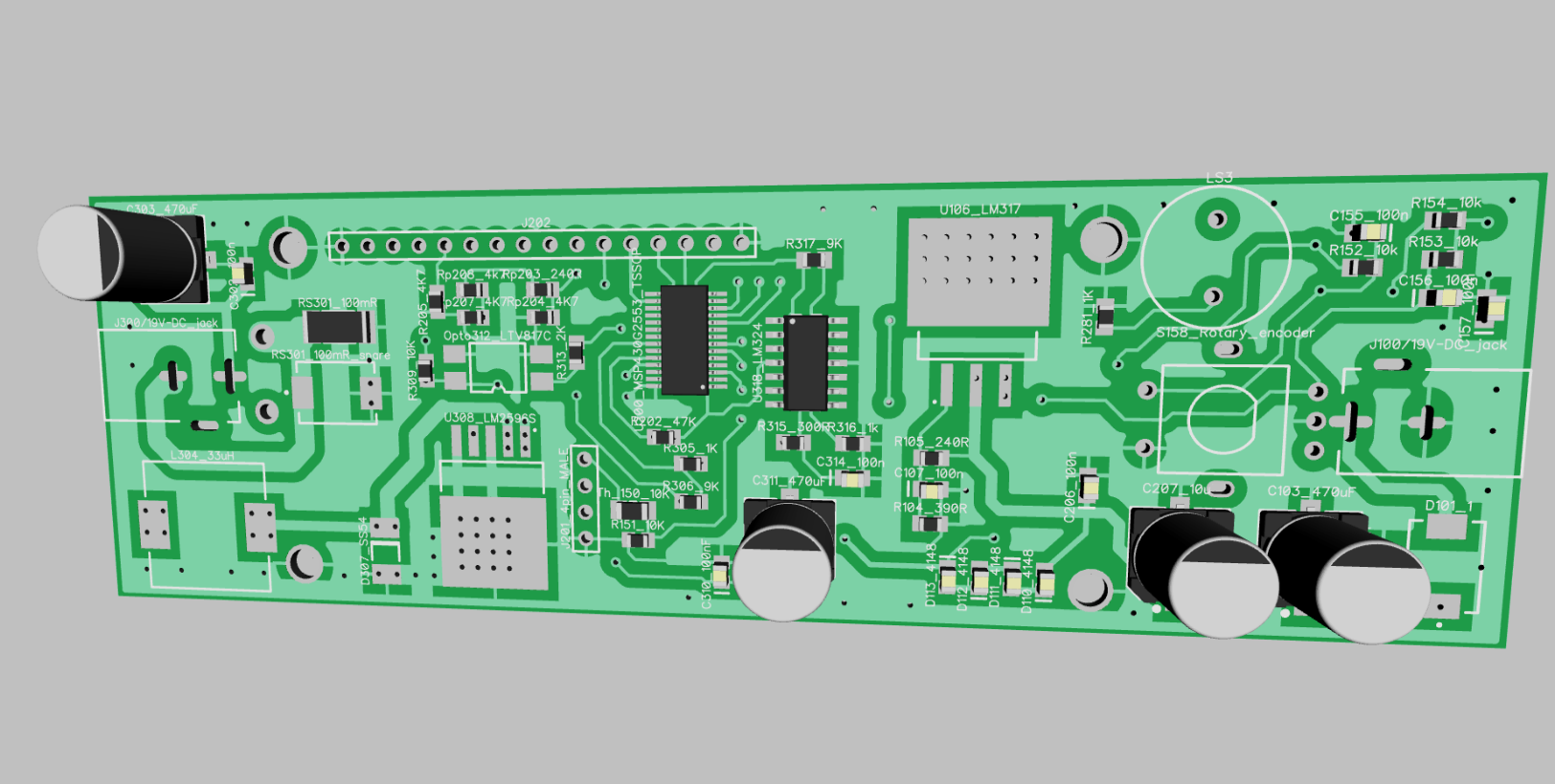 Scorpion 30 Band Spectrum Analyzer Circuit Using Op Amps Scorpionz This Pcb Is Designed And Rendered Diptrace Hopefully I Will Be Able To Take Out Some Of The Heat Those Viases Underneath Lm2596