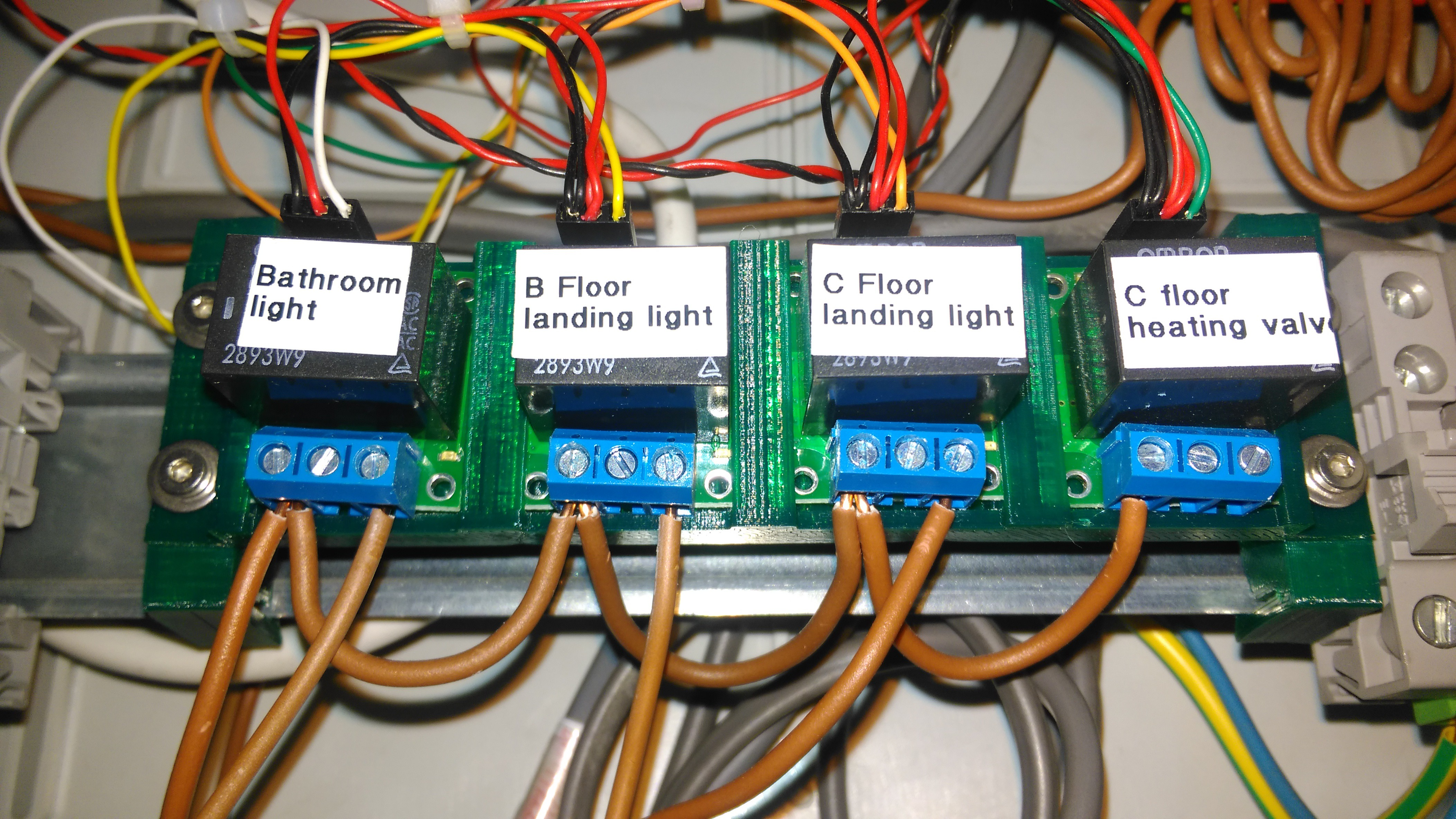 Project Commercial Home Automation Wiring Diagram For A Pir Light Switch How To Wire And Thats The Four Module Holder With Relays Installed Din Rail Clip Mounted At Either End