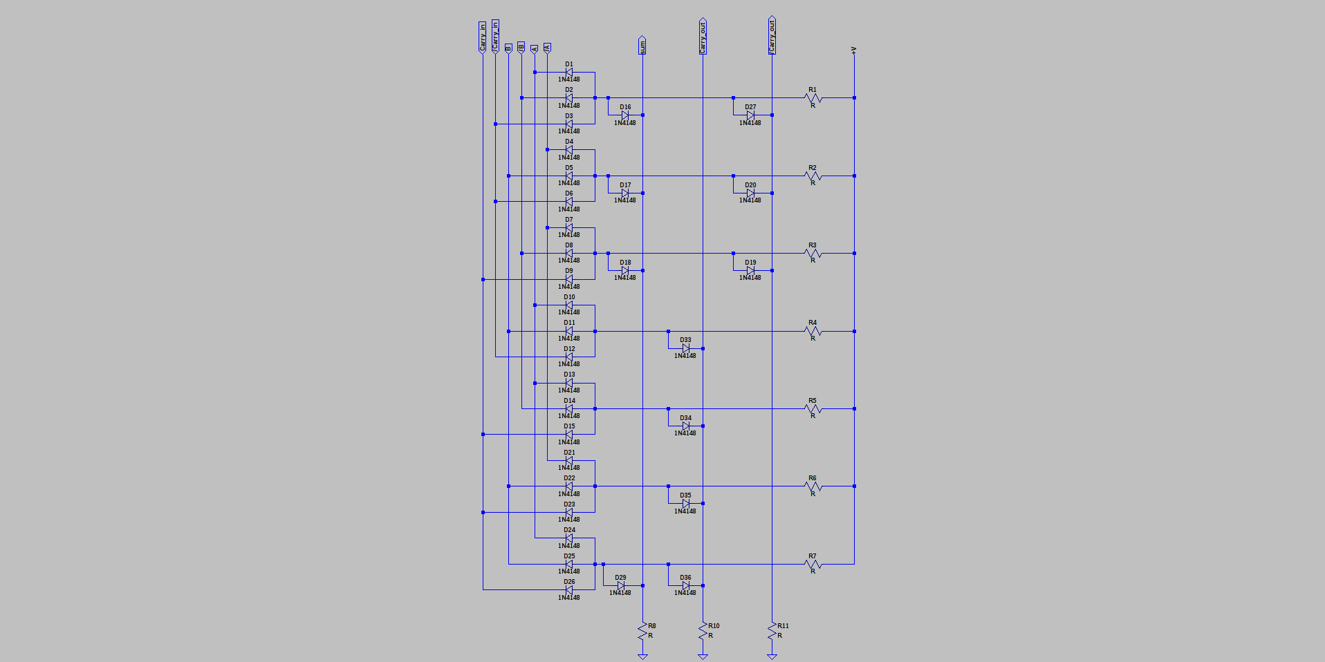 Diode Full Adder Details Simplification Of It Requires Inverted And True Inputs For A B Carryin Output Buffers Sum Carryout But Thats Only 6 Inverters
