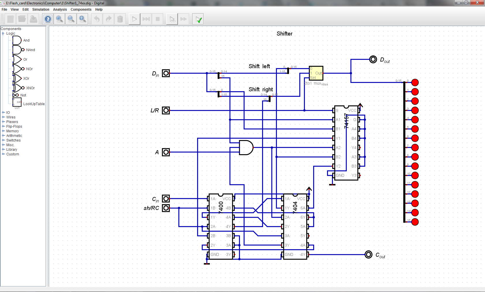 16 Bit Ttl Computer Inverter Circuit Schematic And Sh Rc For Choosing Between Shift Rotate Through Carry The Shifter Mostly Consists Of 2 To 1 Muxes With Handful Logic Gates