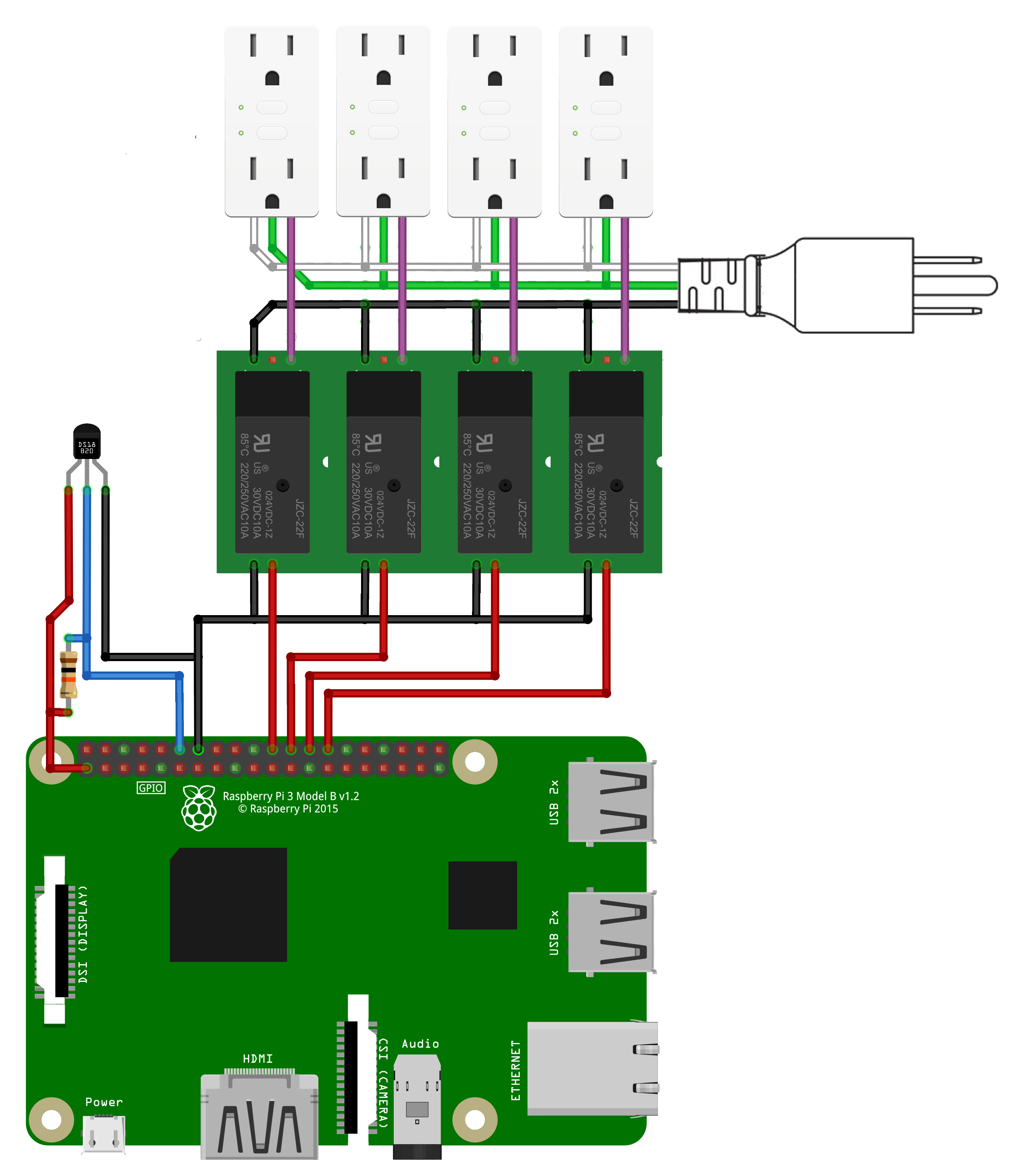 instructions • mycodo environmental regulation system • hackaday io the second image is a wiring schematic a raspberry pi connected to 8 relays that are energizing each outlet of an 8 outlet ac power strip