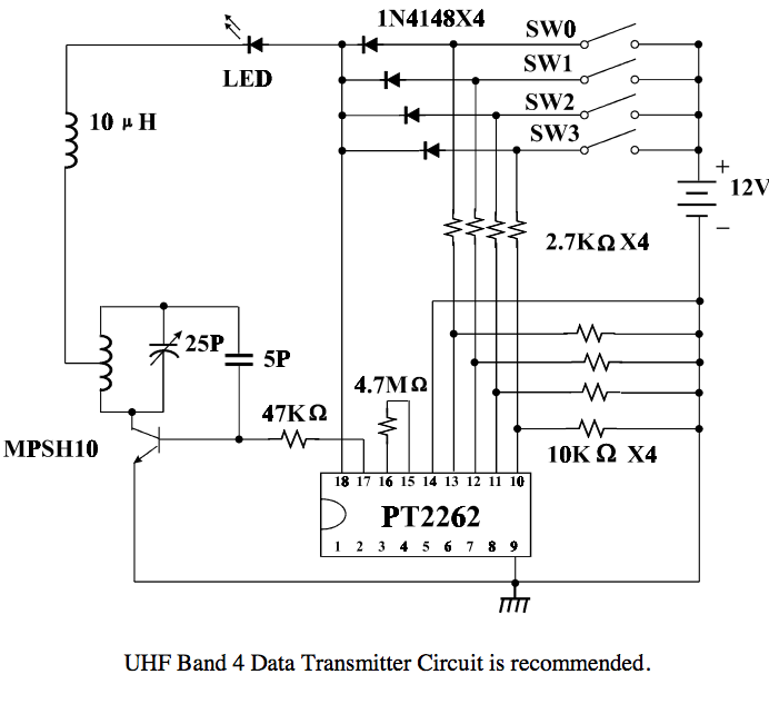 Hacking remote control light switch pt2262 ad2262 details taking hardwired address bits and data bits set by pressed buttons the pt2262ad2262 modulates rf transmitter supposedly designed to work in ism band ccuart Gallery