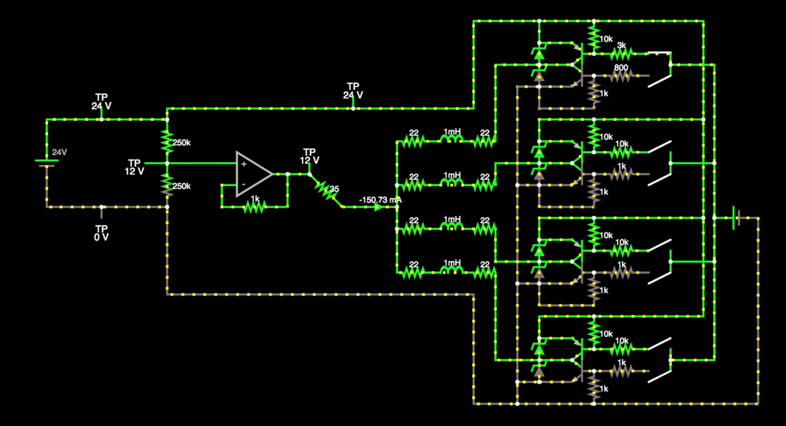 Project Retro Flip Display Pnp 24v Wiring Diagrams For Eyes Photo Initially I Spent A While Messing Around In Falstads Interactive Circuit Simulator Above To Figure Out How Multiplex And