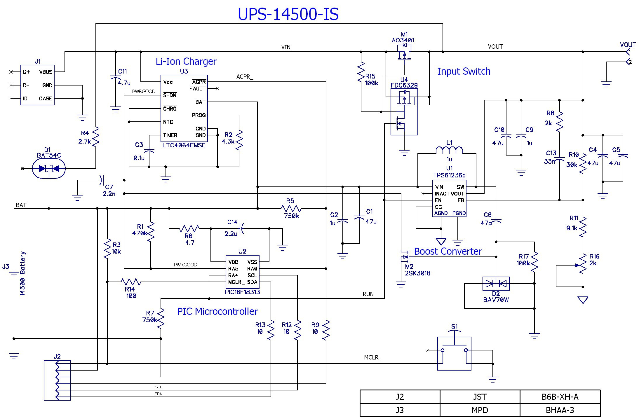 Project Single Cell Li Ion Powered Ups For Raspberry Pi Circuit Diagram Of 6v Battery Charger Its Nearly Identical To The 18650 Design But Has Additional Input Switch U4 M1 R15 And Current Is Lowered 350ma
