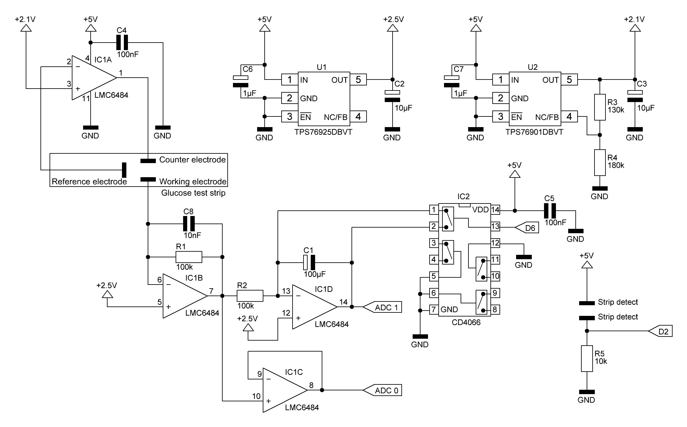 Basic Glucose Meter Schematic Details Quad 2 Circuit Diagram I Changed The Max4575 Which Resets Op Amp Integrator By Shortening Capacitor Bilateral Switch Cd4066 Ic2 Because This Chip Is Much