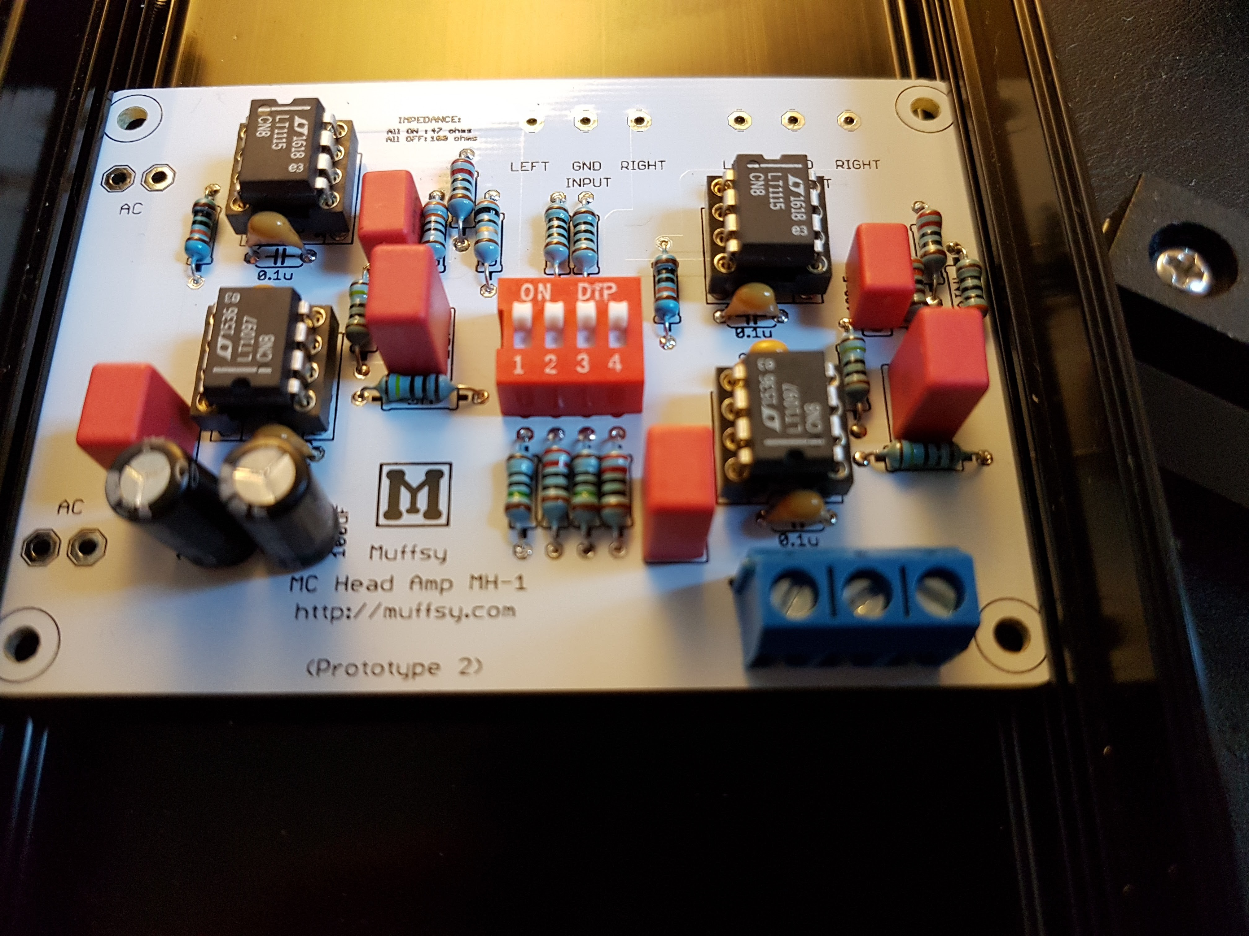 Project Muffsy Mc Head Amp Op Inverting Amplifier Prototype Circuit The 100uf Electrolytes Didnt Quite Fit Same With 100pf Film Caps Gain Network Of Lt1115 Amps Was