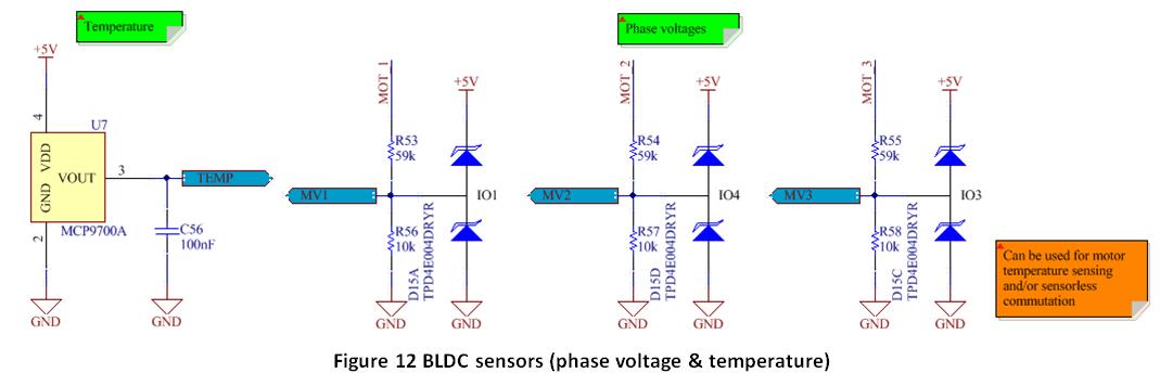 Controlling a brushless motor bldc hardware details for Motor current sensing circuit