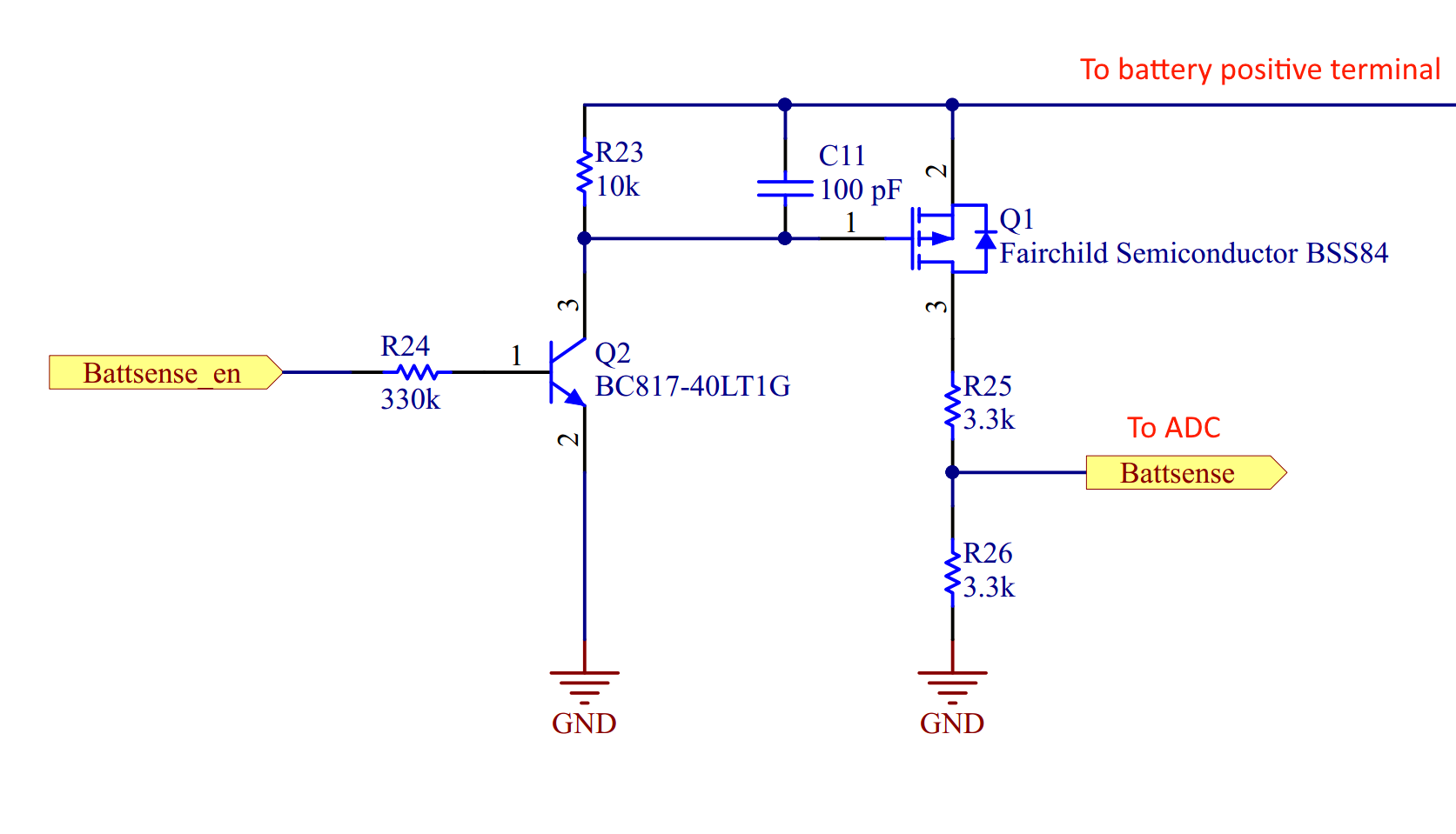Hardware Measuring The Battery Details Charge Sensitive Amplifier Circuit Two Transistors Are Used Microcontroller Is Powered By A 33v Regulator But Charges Up To 42v How Then Do We Switch P Channel Mosfet