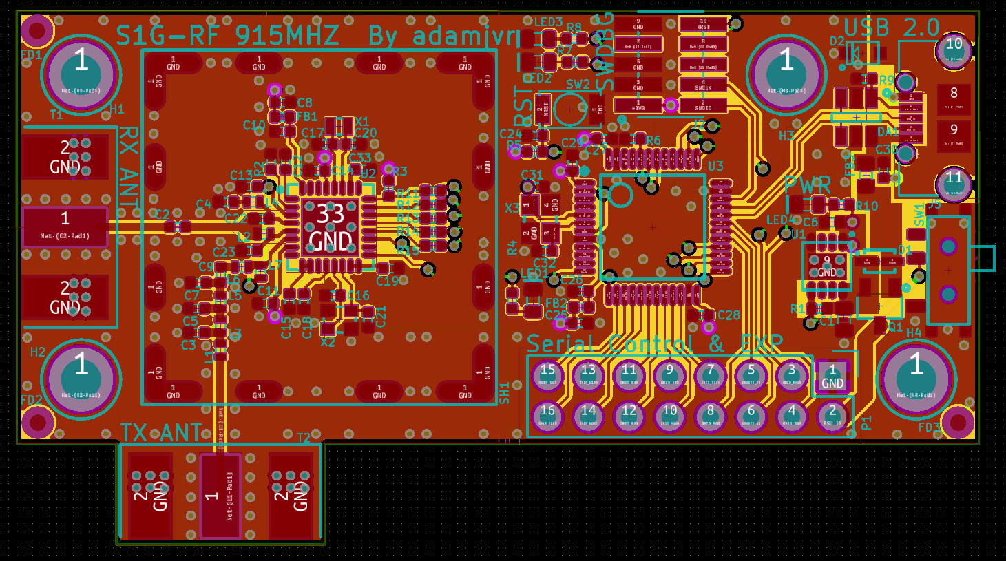 S1g Rf Sub 1ghz Radio Modules 915mhz And 433mhz Ism Transceiver Module Kicad Opengl Render