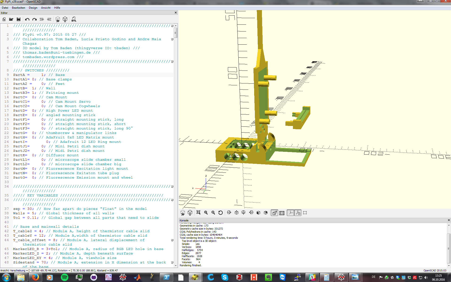 OpenScad screenshot, showing bare minimum to be printed