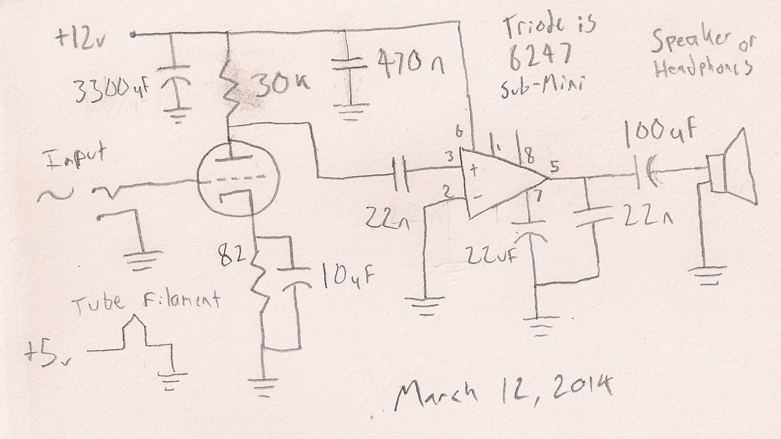 Low voltage 6247 tube and LM386 | Details | Hackaday io