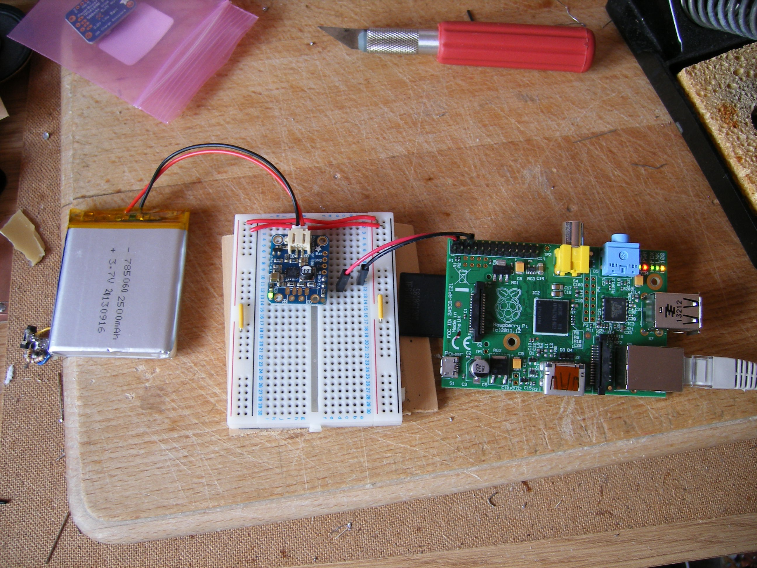 100 Google Glass Using Raspberry Pi The Breadboard Circuit Of Above Is Shown Below Setup With Battery On Left Boost Providing Power To Via Gpio