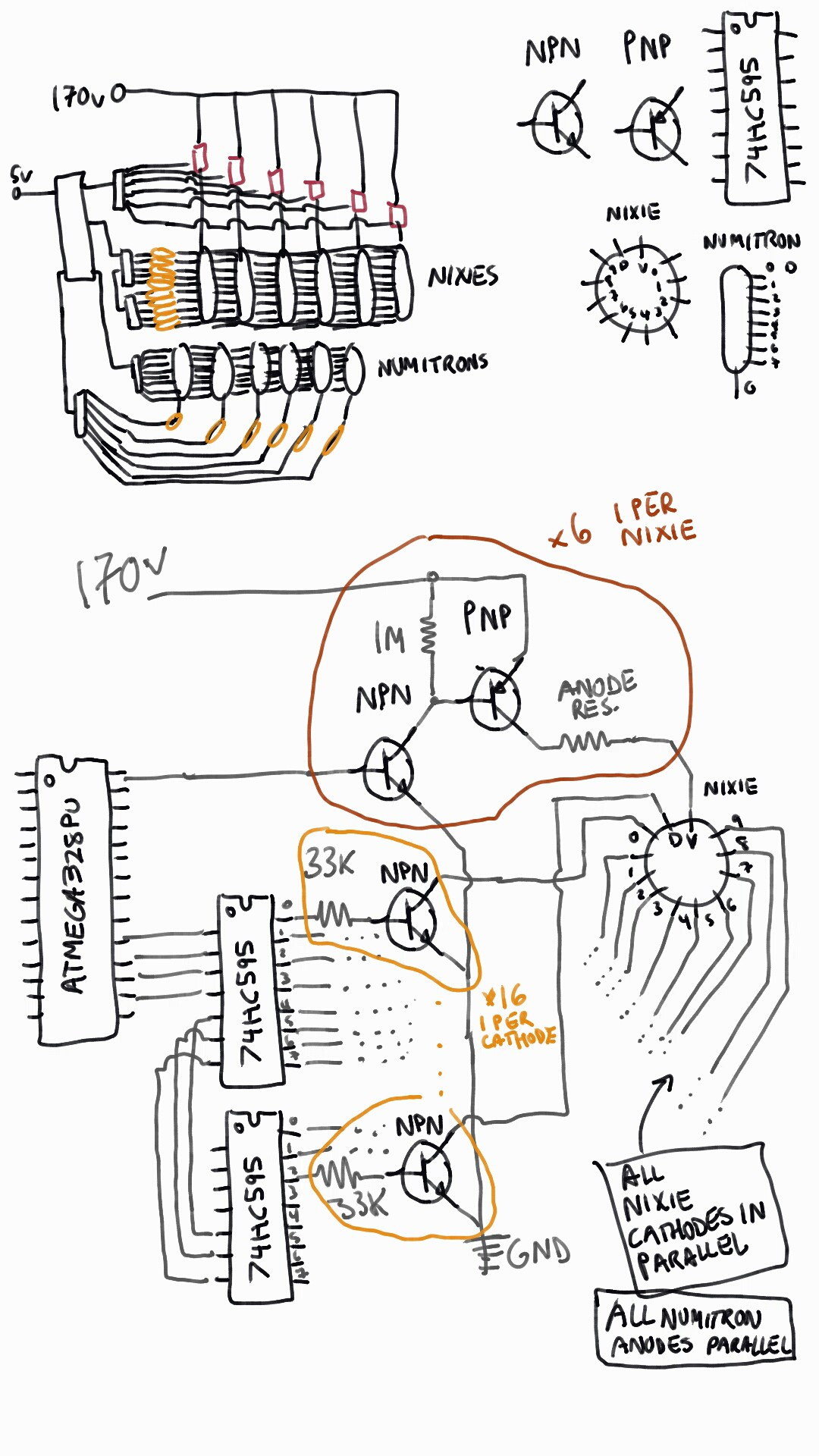 Project Nixie And Numitron Clock Circuit Diagrams Tube I Also Considered Running Each On Its Own Shift Register Daisy Chaining Them Together But Want To Wait See How The
