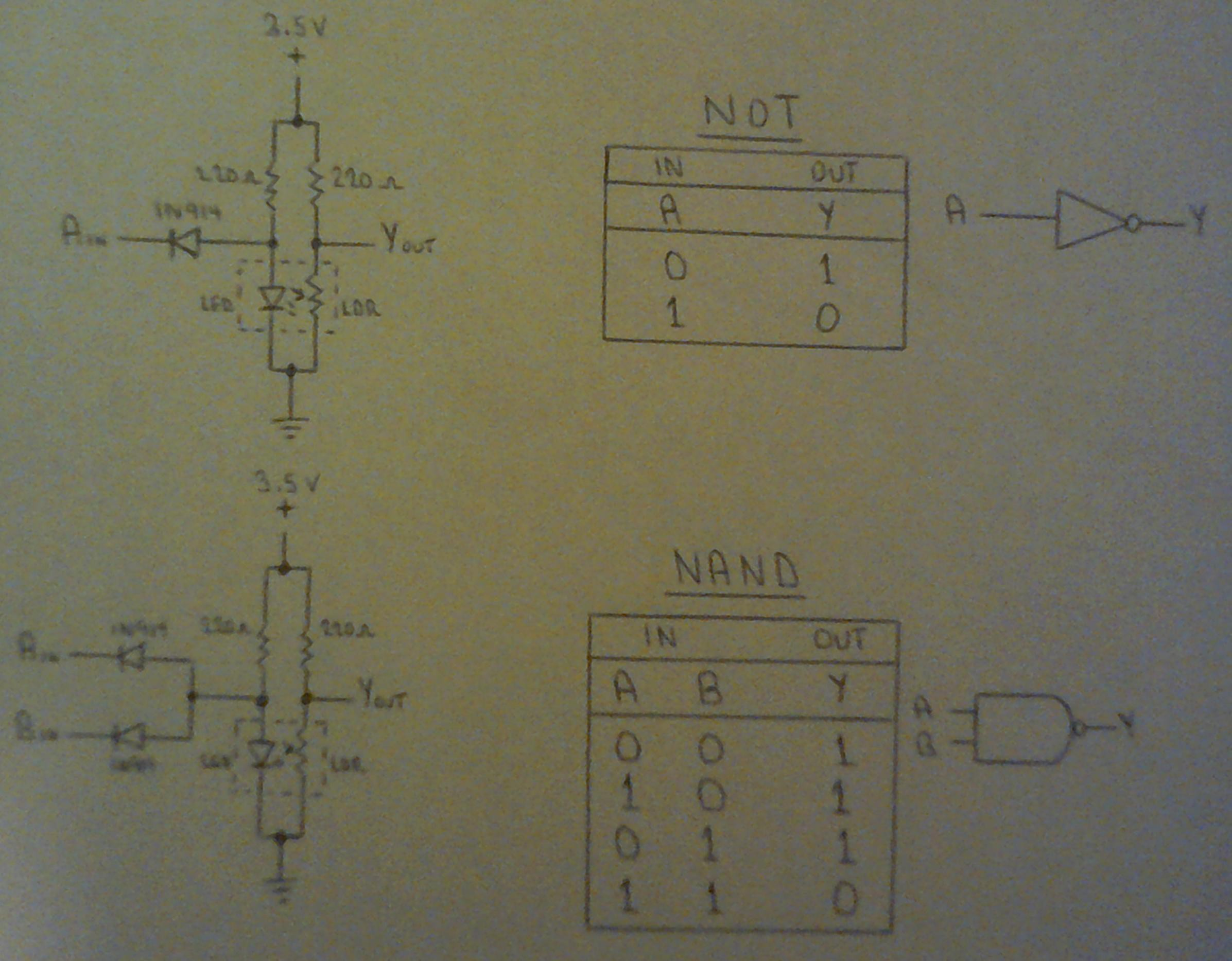 Light Logic Nand Gate Circuit Diagram On Dflip Flop Using A Led And Cds Ldr To Form Inverting Gates The Entire Boolean Set Can Be Handled Entirely By Resistors Diodes