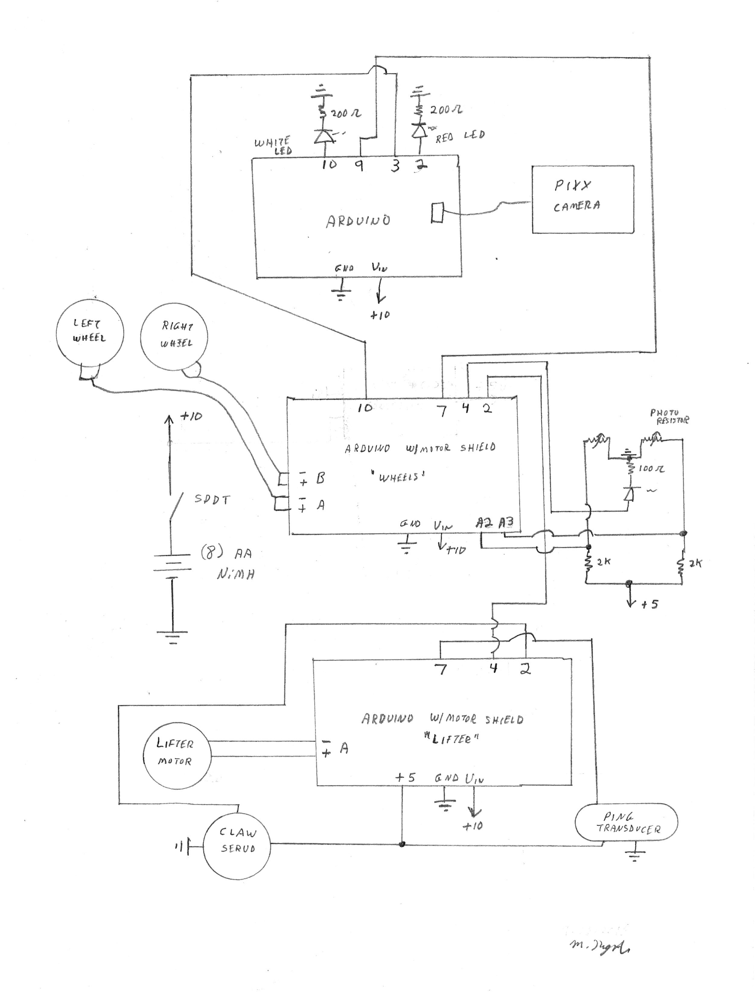 Pretty Useless Machine Two Photocells Wiring Diagram One Light I Designed A Bracket To Hold The Line Following Electronics And That Is Called Follow Files Included On This Site