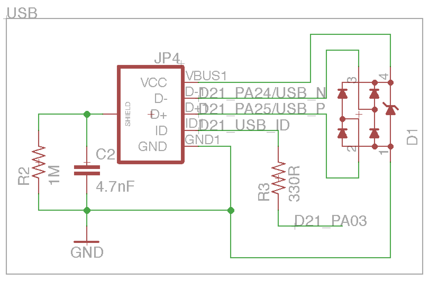 Sam D20 D21 Breakout Board Usb 2 Pin Wiring Diagram The Has Full Speed 20 Both Device And Host To Use This Capability A Micro Connector D Data Lines Have Tvs
