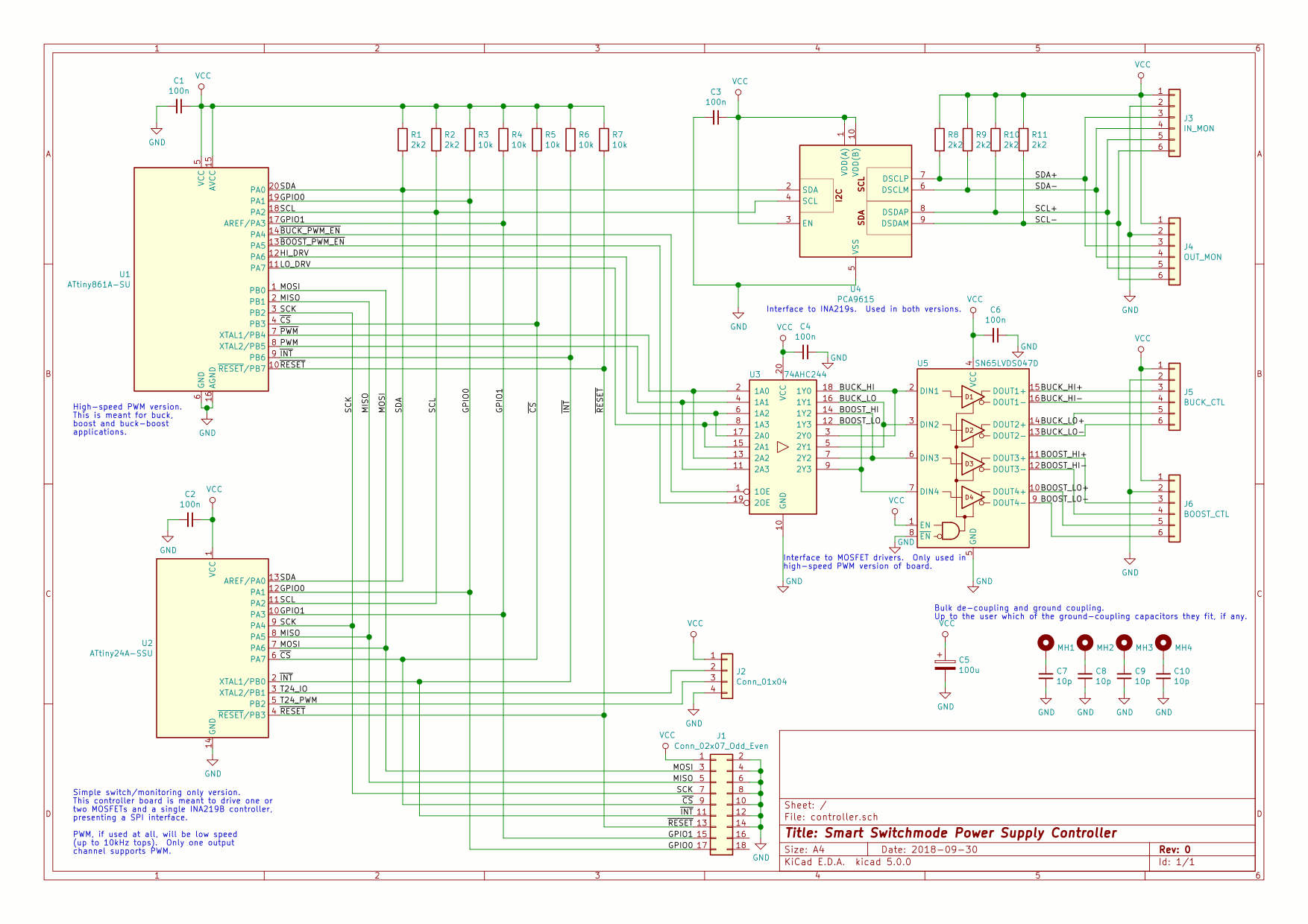 Project High Power Dc Supply To Converter Circuit Also Buck Boost Design For Two Versions On This Board One With An Attiny861 Which Does Speed 250khz Pwm And Can Drive A Or