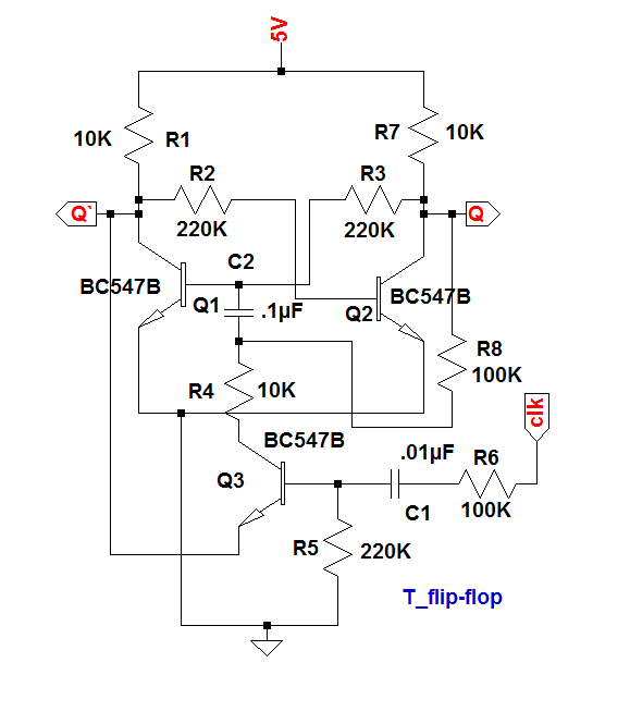 the t flip-flop is made from d flip-flop  for this, connect the data input  to the complementary output q'  so it's output state change automatically