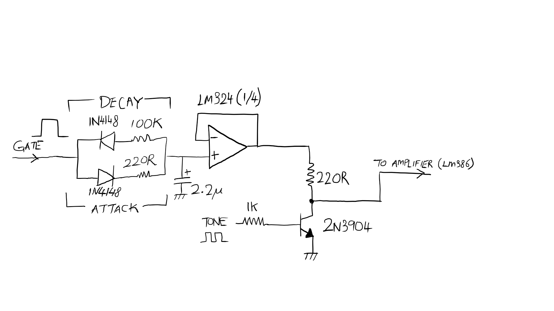 to reduce the extra components used and as a prototype, i modified this to  the following schematic: (apologies for my crappy handwriting, i used a  cheap