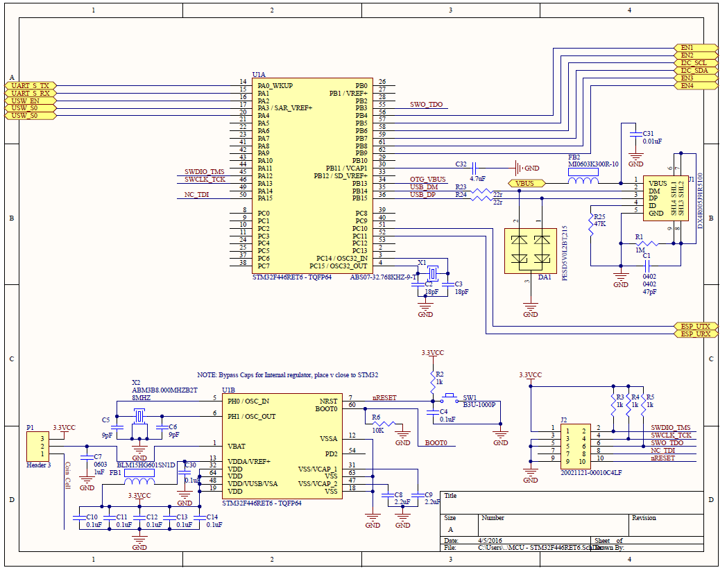 Project Sunleaf Usb Hub Schematic The Is Microcontroller Page Ont His Mcu And All Supporting Components Are Laid Out As Well Jtag Connector Port
