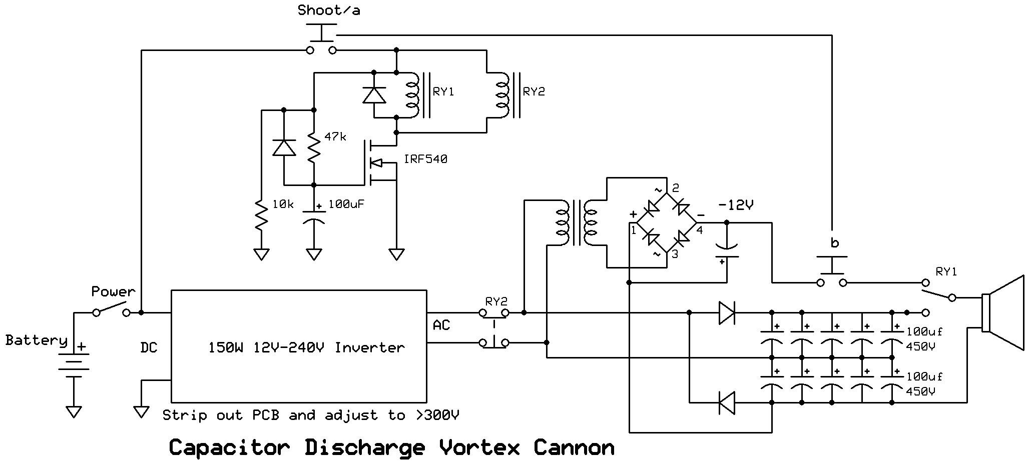 Vortex Cannon Using Capacitor Discharge Dc Voltage Doubler Circuit New Down And Dirty Working For 600v Delay Hold 12v Before Discharging Capacitors Relay Isolating Inverter Eliminates The Need