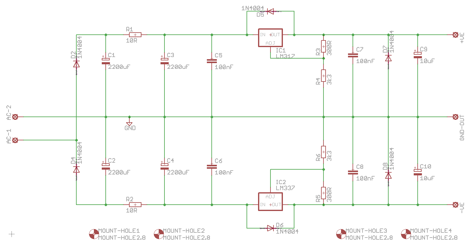 Muffsy Hifi Dual Power Supply Negative Circuit Schematic