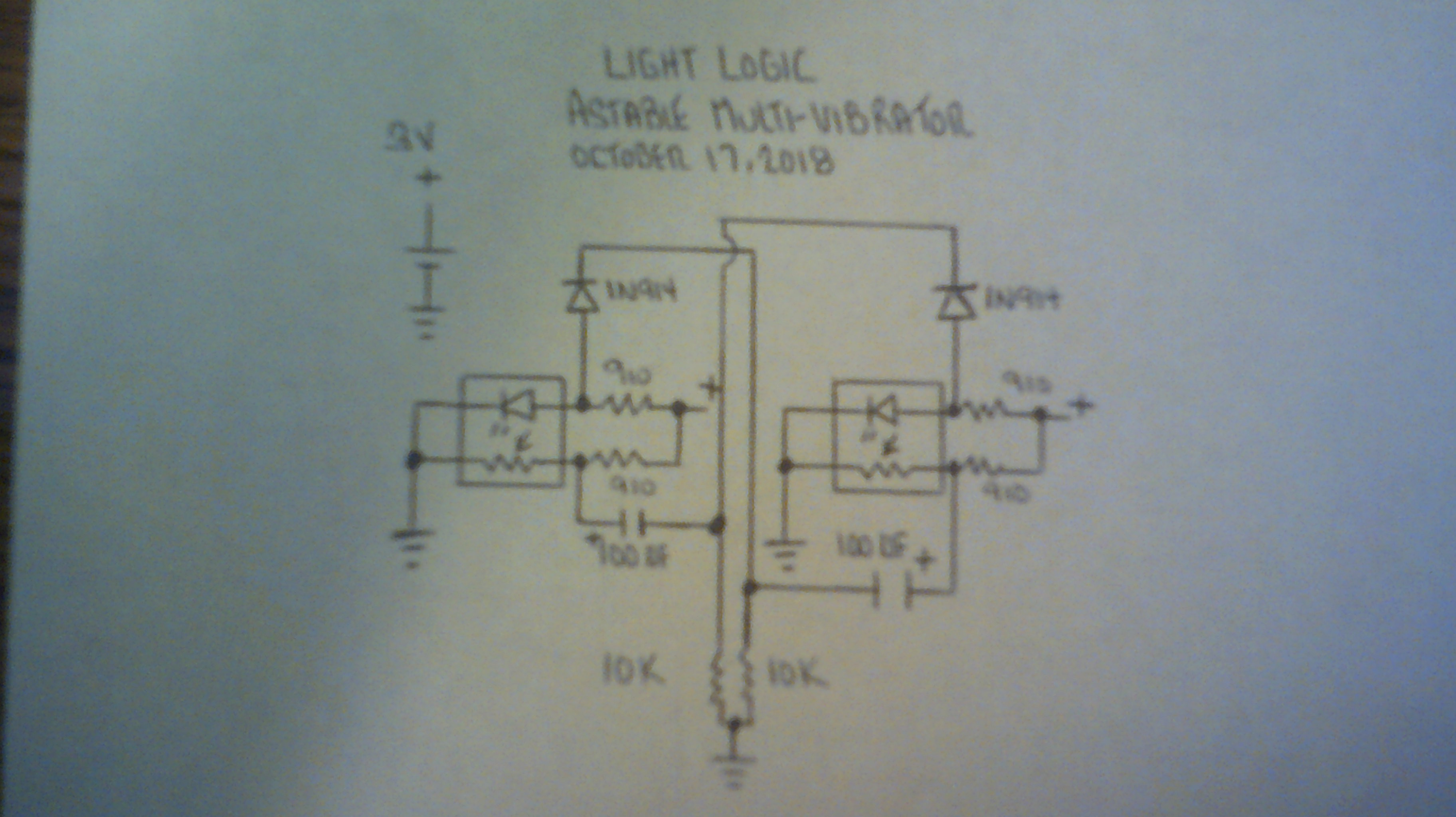 Project Light Logic The Circuit Diagram Of An Astable Multivibrator Using Operational Component Level Schematic Final