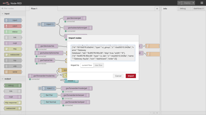 La interfaz de node-red y el diálogo de importación.