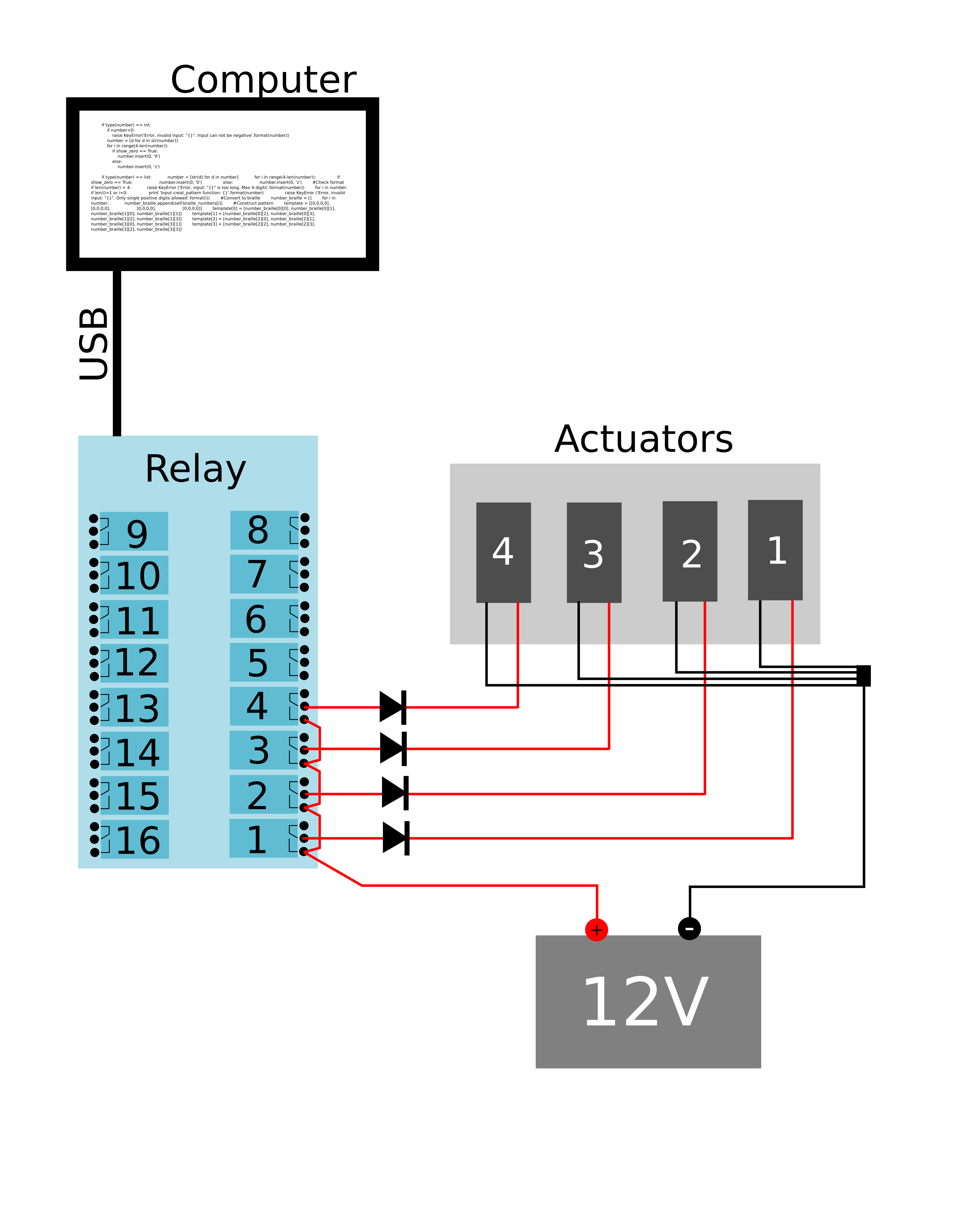 Haptic Input Actuator Relay Wiring Diagram For Simplicity Only The First 4 Actuators Are Wired But All Other Follow Same Scheme Take Note Of Jumper Wires Between Relays