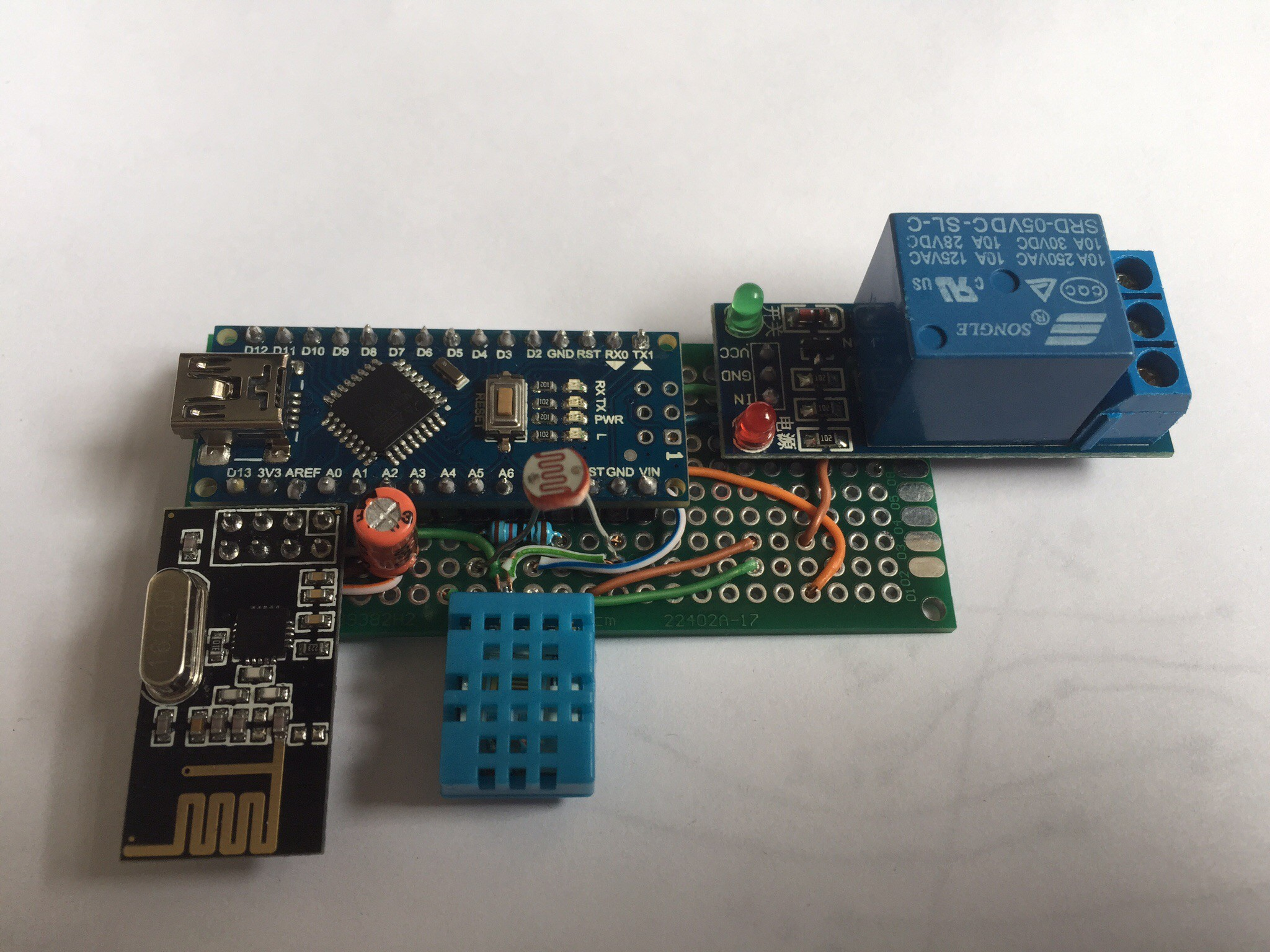 Home Automation Using Rf Mesh Network And Arduino Electronics Engineering Projects Automatic Night Light Control Ldr Seven Days After My Prototype Boards Arrived I Have Planned Which Sensors Controls To Add It Where Put All Or The Wires