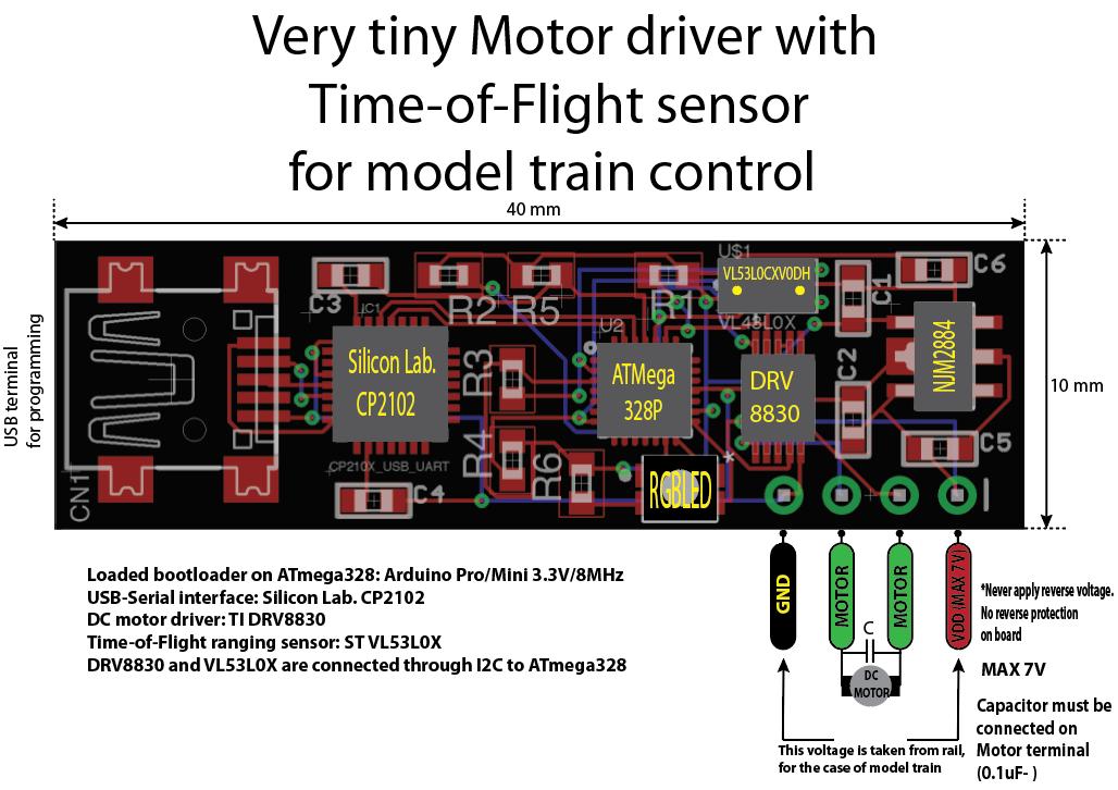 Very tiny Motor driver with Time-of-Flight sensor | Hackaday io