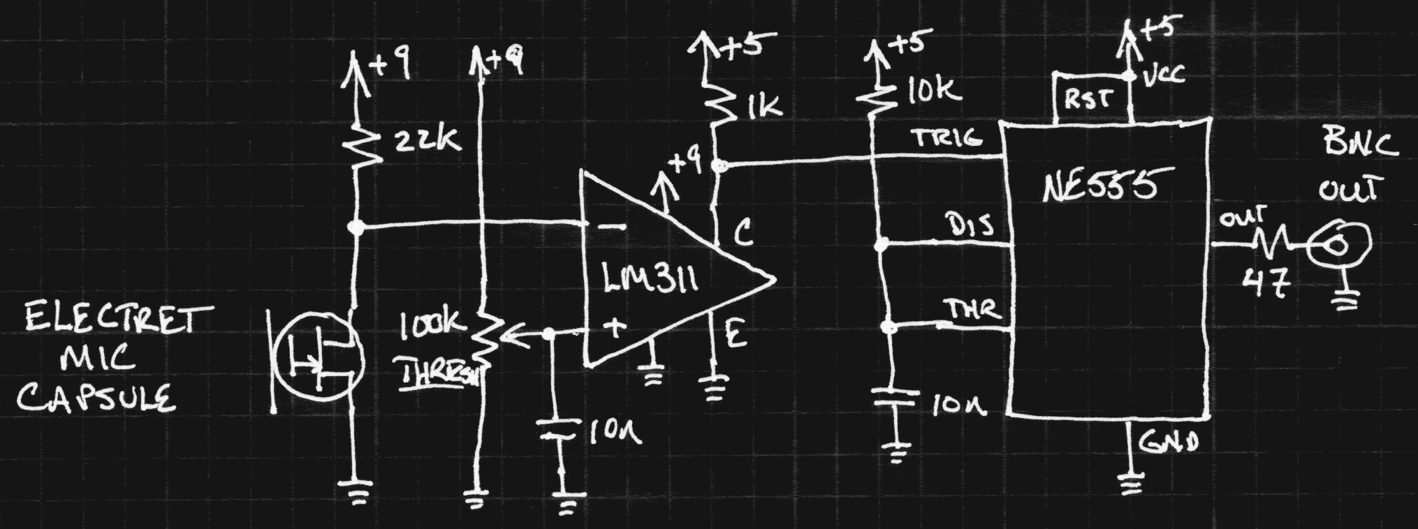 Bullet Movies Circuit Schematics Electret Microphone Condenser I Came Up With The Rest Of Pretty Quickly After That Heres Schematic Mic