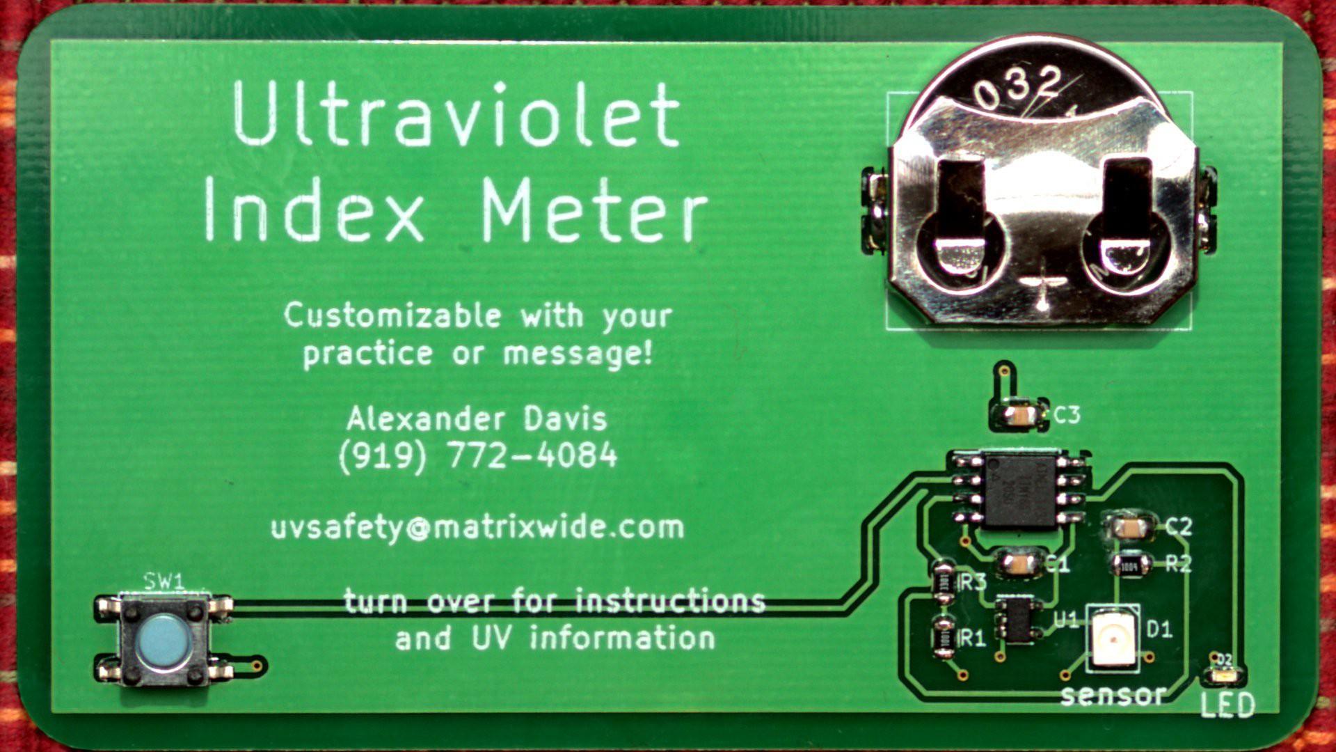 UVI Meter Business Card   Hackaday io