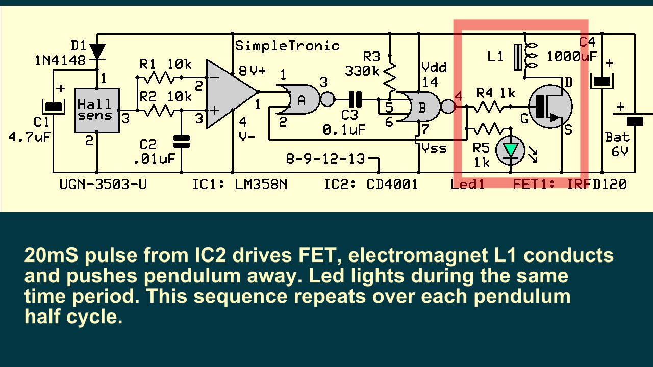 A Circuit Diagram Of An Electromagnet Magnetic Pendulum Magnet Hall Sensor