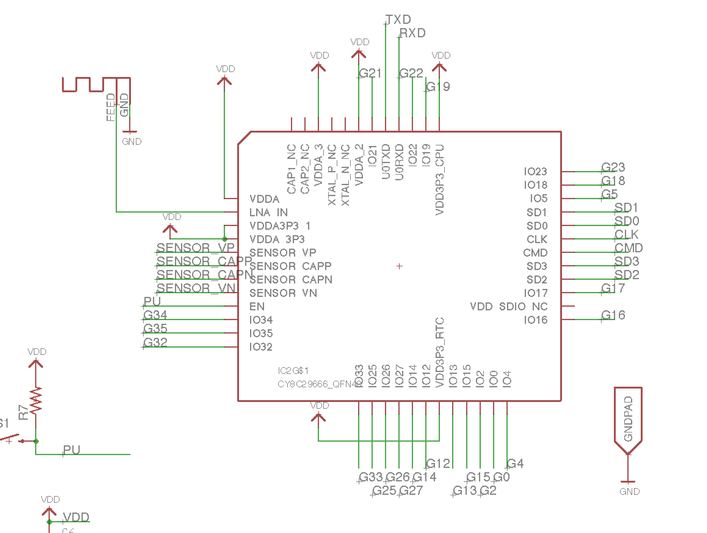 Eagle Library For Esp32 Pico D4 Details Printed Circuit Board Design Ive Made And Enjoying Designing Here Uploaded The File Which Modified Used Pcb
