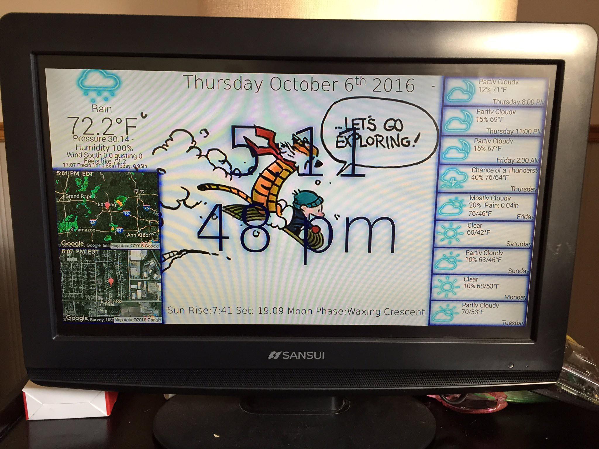 PiClock - A Raspberry Pi Clock & Weather Display | Hackaday io