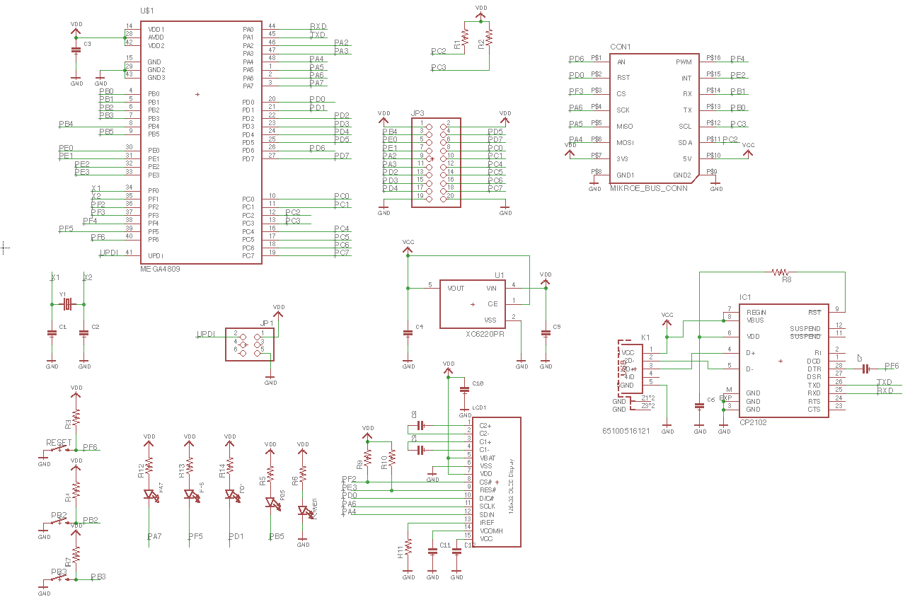 Project | ATMega4809 developing board project | Hackaday io