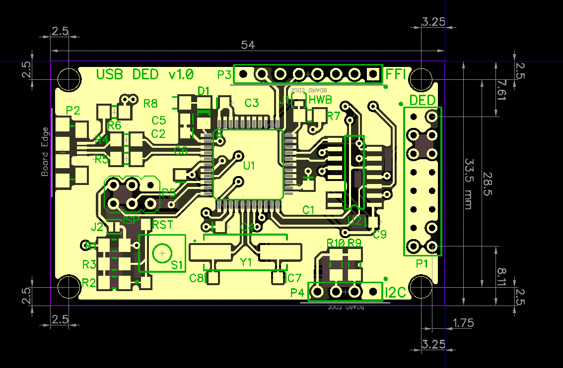 F16 Desktop Cockpit Electronic Circuit Pcb Board Assembly With Surface Mount Next I Drew Up A Layout Since The Atmega32u4 Only Comes In Smd Packages Did Everything