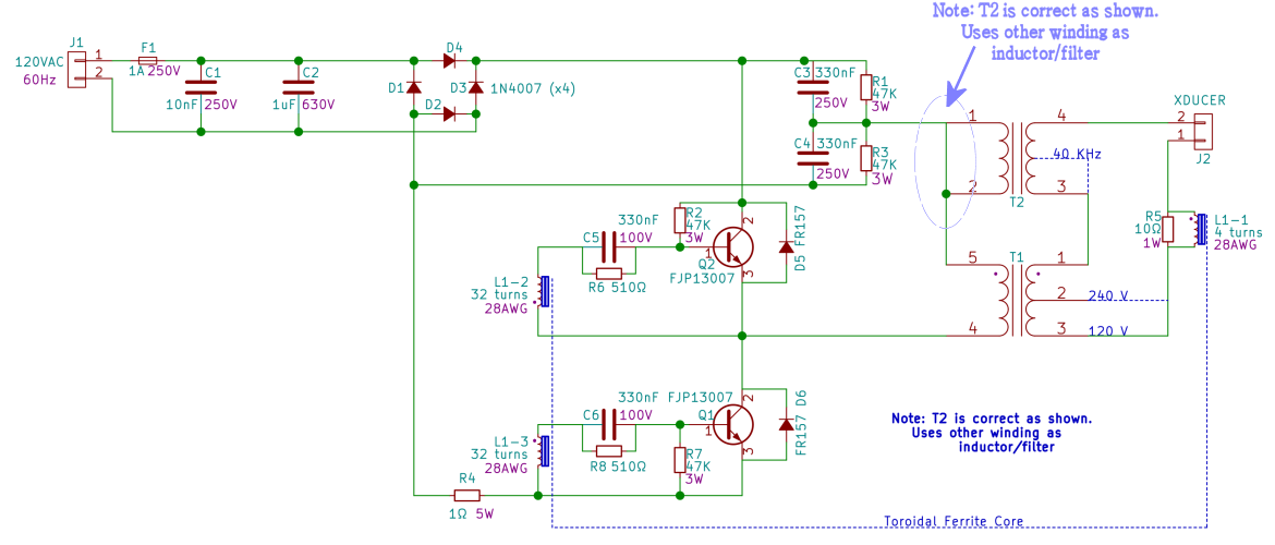 analysis of the ebay ultrasonic power supply details hackaday io rh hackaday io ultrasonic transducer schematic ultrasonic transducer circuit board