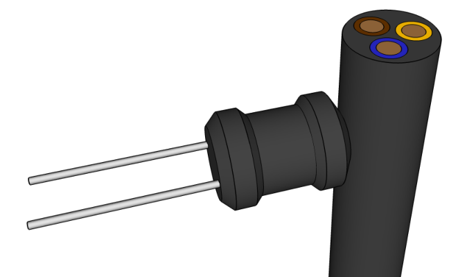Placement of inductor in relation to power cable