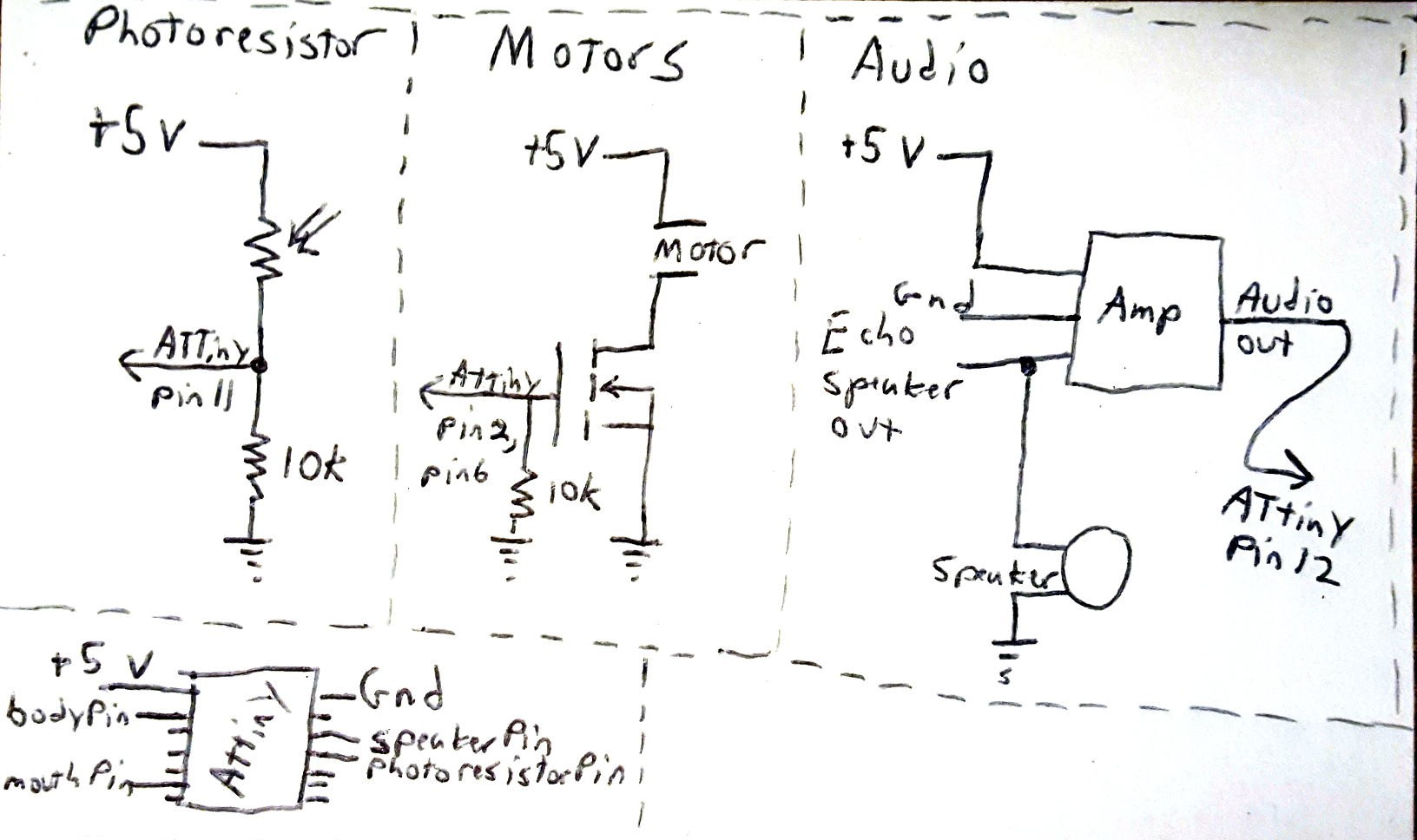 Bilexa Bass Attiny2313 Based Lan Cable Tester Schematic 5v From The Echo Dot And Pipe It To Attiny Audio Amplifier This Way Everything Is Powered Single Coming In Enclosure