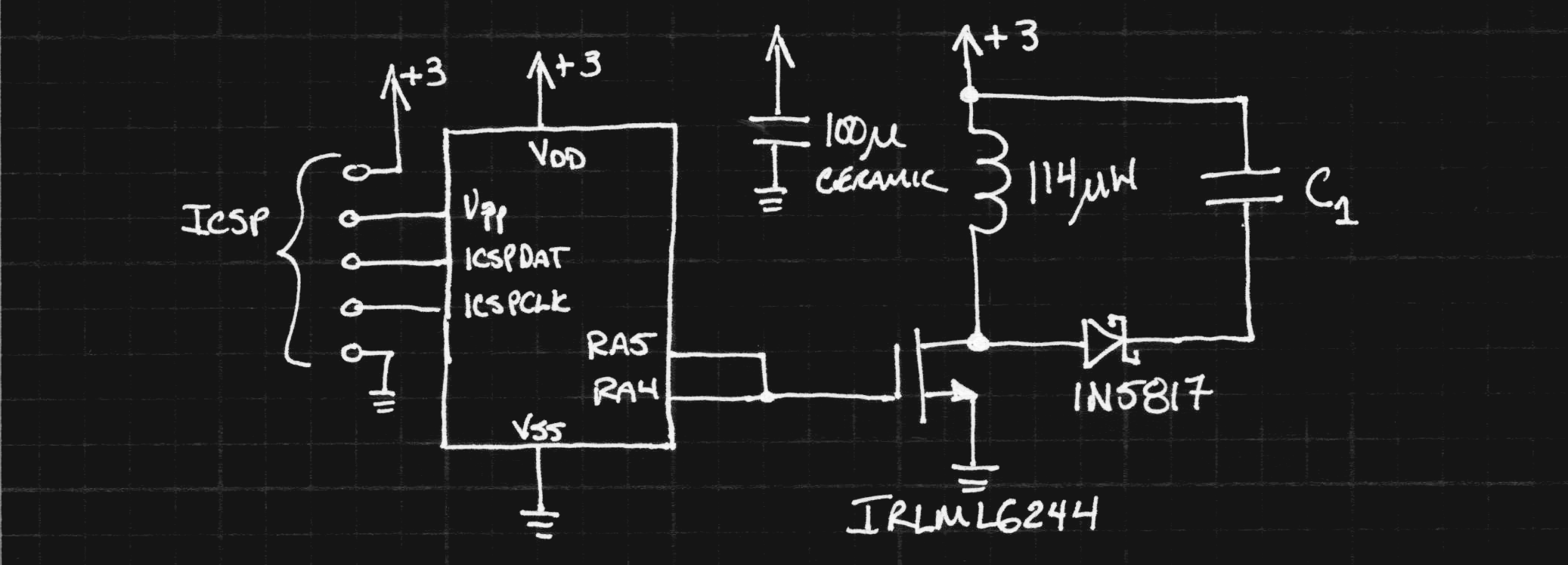 First Prototype Dc Converter Details Simple Inductor Circuit The Pic Code Attached At End Of This Log Generates A 17us Pulse Every 94us To Magnetize By Switching On Mosfet