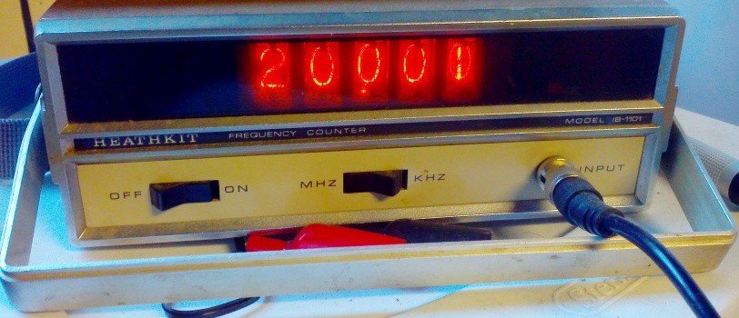 20.001 MHz external clock  ( shown on old heathkit freq. counter. )