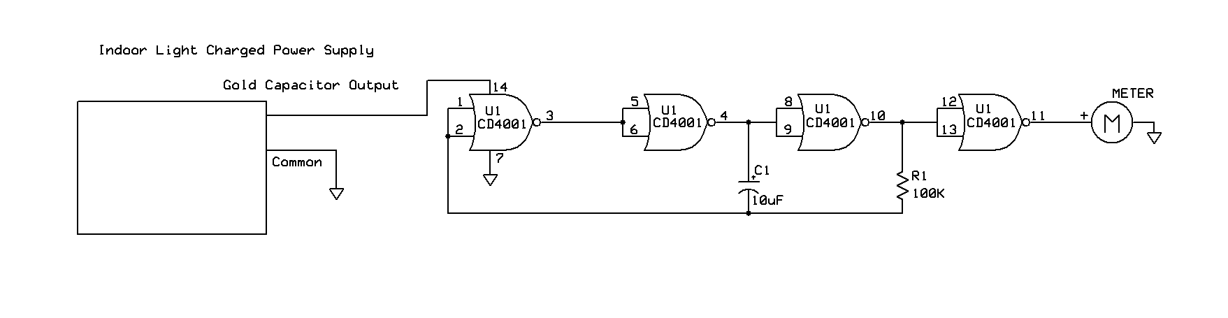 Powering A Project Details Circuit Diagram For Nor Gate Cmos Chips Are Ideal Candidates Energy Harvesting Projects Due To Their Low Power Requirements After Wiring The Above Schematic On Solderless